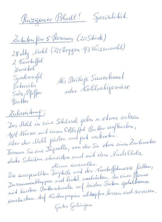 Handschriftliches Bladl Rezept