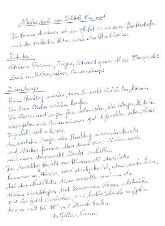 Handschriftliches Rezept - Klatzenbrot