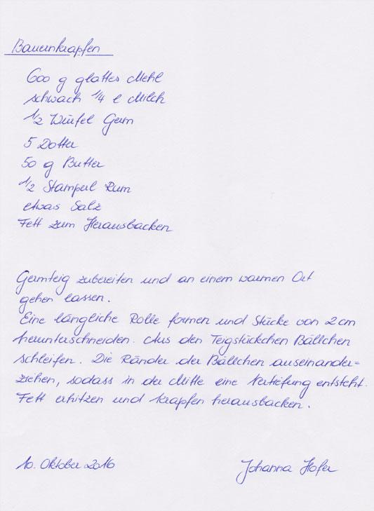 Handschriftliches Rezept, Bauernkrapfen
