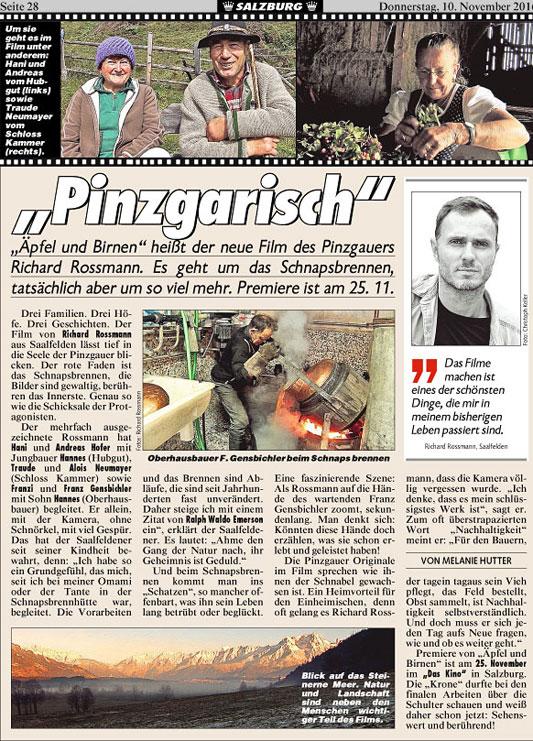 """Ausriss Artikel Salzburg mit dem Titel """"Pinzgarisch"""""""